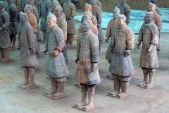 China/Xian: Terracotta Warriors and Horses. These Terracotta Warriors and Horses  in Emperor Qin Shihuang's mausoleum have just been excavated and repaired, then Royalty Free Stock Photos