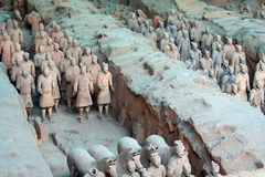China/Xian:Terracotta Warriors and Horses. The Terracotta Warriors and Horses  in Emperor Qin Shihuang's mausoleum, Xian, China Royalty Free Stock Photography
