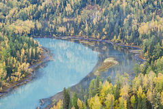 China Xinjiang Crescent. Moon Bay is the most famous attractions of kanas. Kanas river bed formed here by the anti-s-shaped bend bend half consisting of Crescent Royalty Free Stock Photos