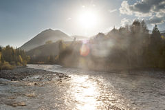 China/xinjiang: sunset ray shining on the river Stock Images