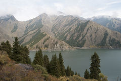 China Xinjiang Tianshan Tianchi. Chinese famous lakes in the Xinjiang Uygur Autonomous Region. In 100 kilometres north-east of Urumqi, on the north slope of Royalty Free Stock Photography