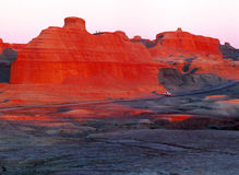 China/Xinjiang: Urho Ghost Castle during sunset. The famous Yadan landform of china Stock Photo