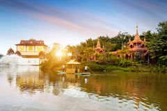 China Xishuangbanna scenery. Beautiful Lancang River and Buddhist architecture, Xishuangbanna, China Royalty Free Stock Photography