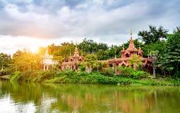 China Xishuangbanna scenery. Beautiful Lancang River and Buddhist architecture, Xishuangbanna, China Royalty Free Stock Photo