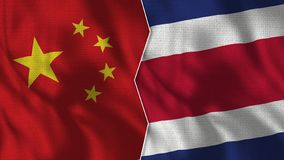 China y Costa Rica Half Flags Together libre illustration