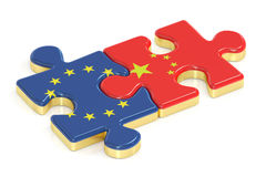 China y la UE desconcierta de las banderas, representación 3D Fotografía de archivo libre de regalías