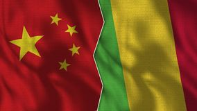 China y Mali Half Flags Together libre illustration