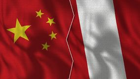 China y Peru Half Flags Together libre illustration