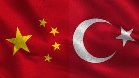 China y Turquía - turco - dos medias banderas junto libre illustration