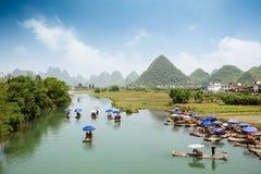 China yangshuo scenery. Chinese scenery of yangshuo, the yulong river rafting Royalty Free Stock Image