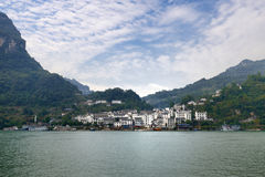 China Yangtze River town. China Yangtze River Three Gorges on the shore of the town royalty free stock photo