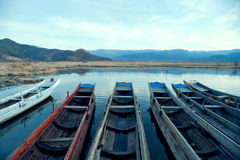 China Yunnan Lugu Lake scenery in winter Stock Photos