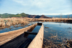 The China Yunnan morning Lugu Lake Royalty Free Stock Image