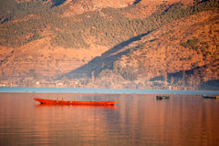 The China Yunnan morning Lugu Lake Royalty Free Stock Photos