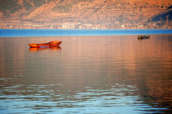 The China Yunnan morning Lugu Lake Royalty Free Stock Images