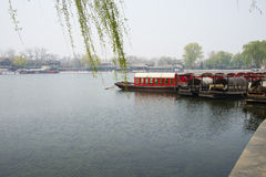ChinaAsia, Beijing, the Shichahai scenic area, Sightseeing Boat Stock Photo