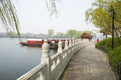ChinaAsia, Beijing, the Shichahai scenic area, Sightseeing Boat Royalty Free Stock Photo