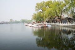 ChinaAsia, Pechino, l'area scenica di Shichahai, barca facente un giro turistico Immagine Stock Libera da Diritti