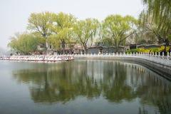 ChinaAsia, Pechino, l'area scenica di Shichahai, barca facente un giro turistico Immagini Stock