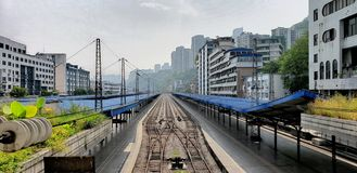 Chinachongqing. Track trainstation railway confused future unknown stock images