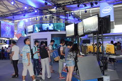 2013ChinaJoy intel game site. 2013 July 25 - 28, China Shanghai International Comic Con。intel game site royalty free stock image