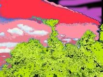 Chinar-Bäume und bewölkter bunter Himmel Stockbild