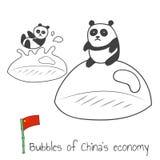 Chinas economy bubbles. Hand drawn vector illustration Stock Photography