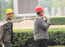 Chinas migrant workers. Beijing migrant workers on the construction site Stock Photo