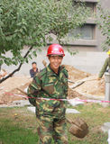 Chinas migrant workers. Beijing migrant workers on the construction site Royalty Free Stock Photo