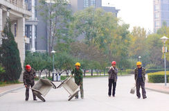 Chinas migrant workers. Beijing migrant workers on the construction site Royalty Free Stock Image