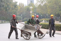 Chinas migrant workers. Beijing migrant workers on the construction site Stock Image