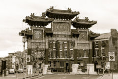 Chinatown Arch, Gate sepia. ENGLAND, LIVERPOOL - 15 NOV 2015: Chinatown Arch, Gate sepia Stock Photos