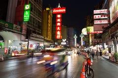 CHINATOWN, BANGKOK, THAILAND - Apr 27, 2017: At China Town bangkok cars light trail Royalty Free Stock Image