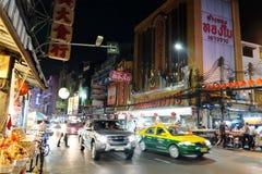Chinatown de Bangkok en la noche Fotos de archivo libres de regalías