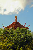 Chinatown detail. Detail of chinese roof architecture behind trees Stock Images