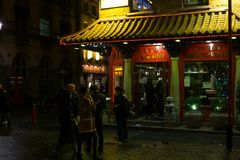 Chinatown district at night in Covent Garden, West London royalty free stock photography