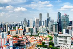 The Chinatown district and skyscrapers in downtown of Singapore. Top view of the Chinatown district and skyscrapers in downtown of Singapore. Beautiful summer stock image
