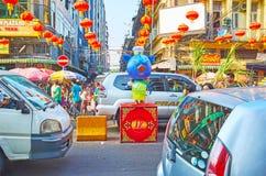 Chinatown durante Año Nuevo, Rangún, Myanmar Imagen de archivo libre de regalías