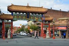 Chinatown-Eingang, Victoria BC, Kanada lizenzfreie stockfotografie