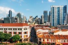 Chinatown et district des affaires central à Singapour photo stock