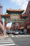 Chinatown Friendship Gate. This gate marks the entrance to Philadelphia's Chinatown neighborhood. The brightly painted portal, which follows a traditional Qing royalty free stock photo