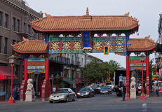 Chinatown Gate Victoria Canada. The gate of Chinatown with its chinese paintings and lion statues. Victoria, Vancouver Island, British Columbia, Canada stock photography