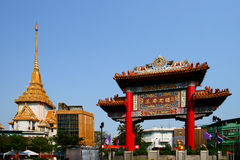 Chinatown Gate and Wat Traimit Stock Images