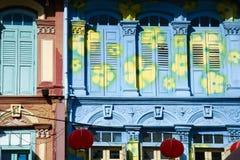 chinatown hus shoppar singapore Royaltyfri Bild