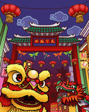 Chinatown. Illustration of Chinatown with lion and dragon in front of the gateway Royalty Free Stock Image
