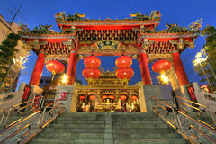 chinatown japan kwan tai tempel yokohama Arkivbild
