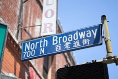 Chinatown in LA have Chinese road name and English. DTLA, Chinatown Los Angeles, California, USA: 06/30/2018 road name Chinese and English stock photography