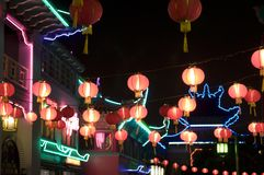Chinatown lights. Chinatowns were pioneered by early Chinese immigrants in the 19th to the mid-20th centuries Stock Photos
