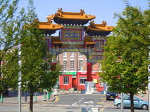 Entrance to Chinatown in Liverpool. The ceremonial arch gateway to Chinatown in Liverpool, England Royalty Free Stock Photo