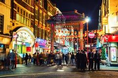 Chinatown in Londen bij nacht royalty-vrije stock afbeeldingen